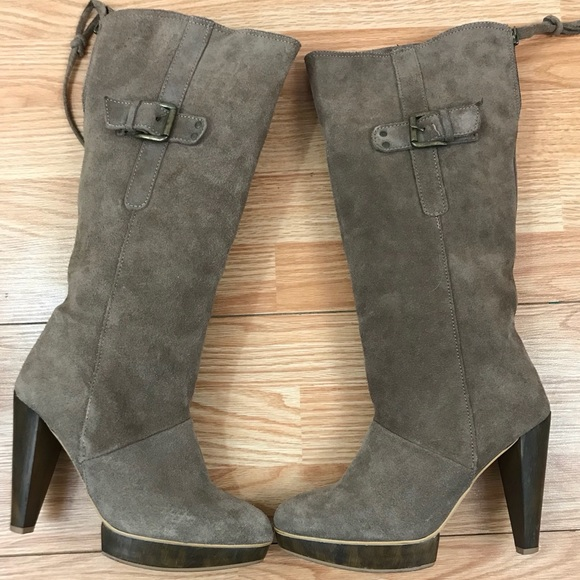 2c421c49f18a Bershka Shoes | Knee High Heel Brown Suede Boots | Poshmark